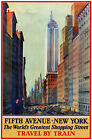 TR81 Vintage 5th Fifth Avenue New York Railway Travel Poster A1 A2 A3