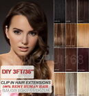 "15"" 3FT DIY Weft Clip in Human Hair Extensions"