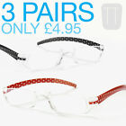 3 PAIRS NEW RIMLESS POLKA DOT READERS READING GLASSES - STRENGTHS +1.5 to +4.00