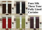 Faux Silk THREE TONE Fully Lined CURTAINS Eyelet / Ring Top + Tiebacks