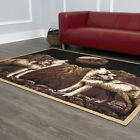 Modern Brown Twin Howling Wolves Area Rug Moon Wolf Pack Novelty Animal Carpet