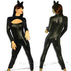 Sexy Cat Woman Complete Costume Black Faux Leather Super Hero Body Suit & Ears