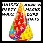 UNISEX PARTY WARE ITEMS FUN STYLE *HATS*CUPS*PLATES** BOYS AND GIRLS