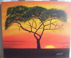 "RED ORANGE SUNSET TREE ART OIL PAINTING 20x24"" STRETCHED"