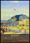 TU50 Vintage Sunny Worthing Southern Electric Railway Travel Poster Re-Print A4
