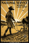 WA26 Vintage WWI Women's Land Army National Service War Poster WW1 A4