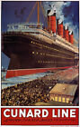TX148 Vintage Cunard Line Liverpool-New York Cruise Shipping Travel Poster A4