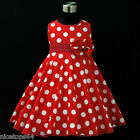R3121 Toddler Girl Red X'mas Tree Party Girls Dress Outfit SZ 2,3,4,5,6,7,8,9,10