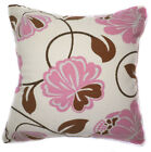 UF71a Pink Brown Flower Beige Velvet Style Cushion Cover/Pillow Case Custom Size