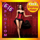 CC38 Red Feather Vegas Burlesque Moulin Rouge Hens Night Party Costume Corset