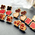 1 Pair Hot New Fashion Clover Heart Love Ear Stud Earrings Wholesale FREE SHIP