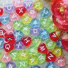 Assorted Clear Color Heart Shape Alphabet Letter 12mm Plastic Beads 41C9659