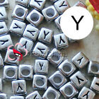 """""""Y"""" Silver Square Alphabet Letter Acrylic Plastic 6mm Beads 43C9308-y"""