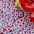 Pink Square Alphabet Letter Acrylic Plastic 6mm Beads 39C9308