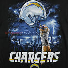 SAN DIEGO CHARGERS SKY HIGH TEE NFL FOOTBALL HELMET BLACK T-SHIRT THUNDER BOLT $28.99 USD on eBay