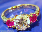 BN QUALITY GOLD PLATED PINK & DIAMOND ZIRCONIA RING SIZE J L M N P R T S W  #984