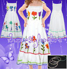 Girls Dress Pretty Floral Detail Summer Dress with FREE Bangles Age 2-5 Y