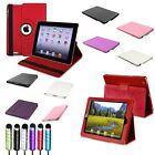 Black/White/Pink/Red/Purple 360 Degree/Leather Case+Stylus For The New iPad 2 3