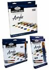 ROYAL LANGNICKEL 12ml TUBES ACRYLIC ARTIST PAINTS & BRUSH SETS PACKS 12,18, 24