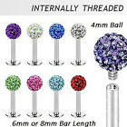 Internally Thread Ferido Crystal Labret Lip Stud / Tragus Bar / Monroe 6 or 8mm