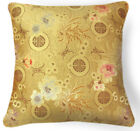 Bf001a Pink Brown Aster on Gold Rayon Brocade Pillow/Cushion Cover*Custom Size