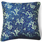 BL100a Light Gold Dragon on Blue Rayon Brocade Pillow/Cushion Cover*Custom Size