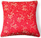 BL108a Gold Dragon on Red Rayon Brocade Cushion Cover/Pillow Case*Custom Size