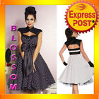 RK38 Rockabilly Polka Dot 50s 60s Swing Dance Dress Pin Up Retro Flared Plus