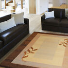 Contemporary Casual Brown Beige Leaf Area Rug Multi-Color Bordered Casual Carpet