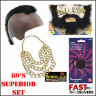 SELECT MENS 1980s BA BARACUS MR T A TEAM FANCY DRESS COSTUME MOHAWK BEARD BLING