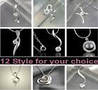 NEW Genuine Pure CZ Crystal 18K Gold Solid Silver S925 Pendant Necklace Ladies