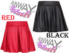 NEW LADIES ZIP SKATER WAISTED FLIPPY FLARED SHORT MINI SKIRT WOMENS SIZE 8-14