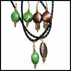 Braided Leather Necklace and Earring Set * Green * Copper * MADE IN USA #A12