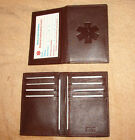 Credit Card ID Leather Medical Wallets w/ med symbol, color dark brown