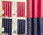 CHILDRENS GINGHAM  CURTAINS ~ Thermal Blockout Eyelet Ring Top Curtains