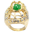De Buman 14k Yellow Gold Plated Jade & Crystal Ring Size 6/ 7/ 8