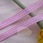 50 Yds/Roll Pink Gingham Scotish Ribbons 6mm,10mm,15mm,18mm,24mm Sewing E1-1