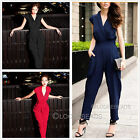New Women's Haroun Trousers Tide Fine Waist V-Neck Jumpsuits Pants 3 Colors