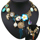 vintage style art deco antique crystal choker flower statement fashion necklace