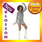 C319 Ladies Silver Disco Diva 60's 70's Retro Fancy Dress Costume