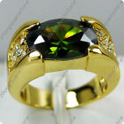 Jewelry Fashion Ring Size 9/10/11/12 Green Mens 10K Yellow Gold Filled Wedding