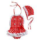 2pcs Baby Girl Kid Bath Hat Swimsuit Bikini Swimwear Tutu Plaids Clothes Outfit