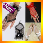 7088 Black White Red Lace Fingerless Short Gloves 80s Madonna Costume Burlesque
