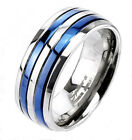 Ti Titanium Blue Double Striped Wedding Band Ring Size 5-13