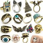 Punk Rock Retro Antique Silver Bronze Punk Rock Gothic Ring Mask Skull Rose Wing