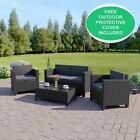 New Black Rattan Weave Garden Furniture Conservatory Sofa Set Sale, FREE COVER