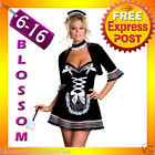 J55 Black Deluxe French Maid Halloween Fancy Dress Up Costume Hens Night Outfit