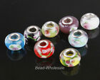 10Pcs Porcelain&glass crystal Flower Big Hole Beads European Beads Fit Bracelet