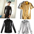 UK Style Mens Coating Costumes Shining Button-front Shirts Top Slim Shirts