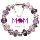 Silver European Purple Murano Bead Mom Charm Bracelet